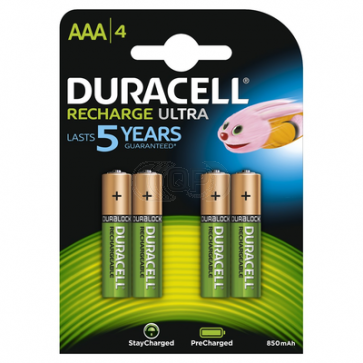 Rechargeable batteries AAA 850 mAh NiMH Duracell 4 pieces
