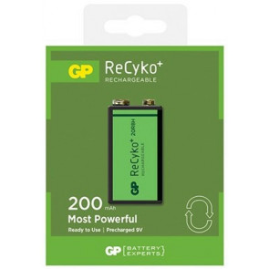 Rechargeable batteries 9 Volt 200 mAh NiMH GP Recyko+