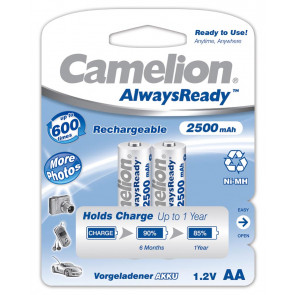 Rechargeable batteries AA 2500 mAh Camelion always ready 2 pieces