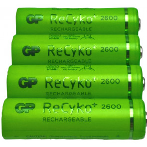 Rechargeable batteries AA 2600 mAh NiMH GP Recyko+ 4 pieces