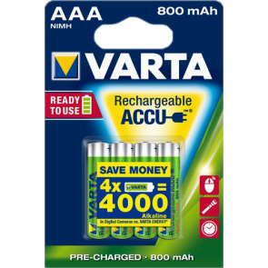 Rechargeable batteries AAA 800 mAh NiMH Varta 4 pieces